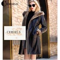 CKMORLS Genuine Leather Jacket Women Winter Coat V Neck With Fur Hood Natural Merino Sheep Fur Parkas Slim Fur Jacket Black Coat