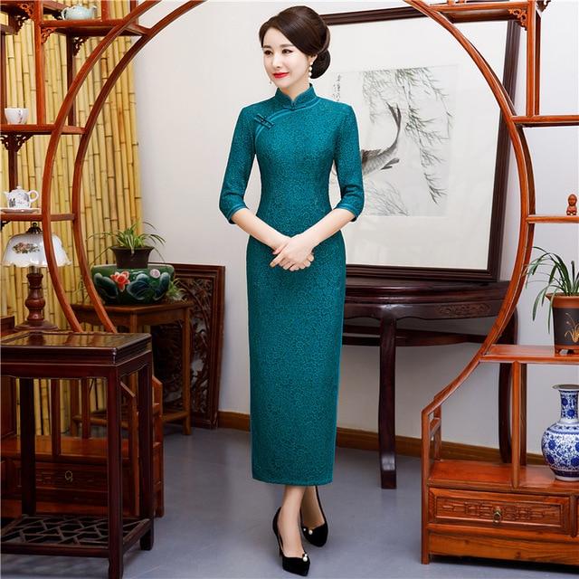 Peocok Blue Women Lace Elegant Qipao Handmade Button Vintage Cheongsam Three Quarter Sleeve Chinese Dress Vestidos M-4XL