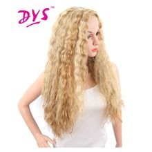 Deyngs Halloween Blonde Women's Synthetic Wigs Long Kinky Straight Pelucas Hairstyle Natural Heat Resistant Cosplay Hair Wig