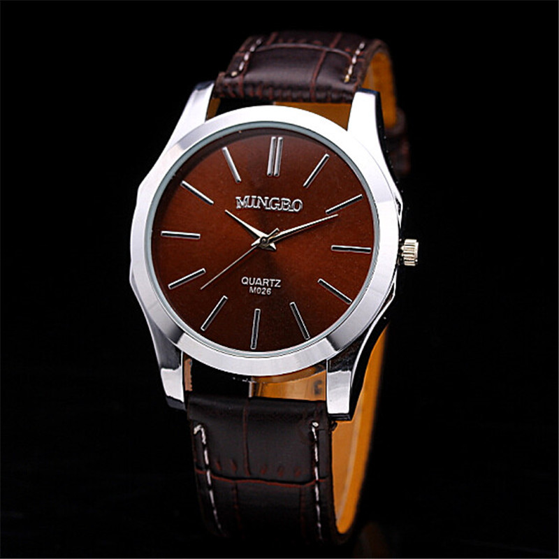 Fashion Unisex New Men Watch Silver Diesel Quartz Watch Bracelet Simple Design Watches Brown Leather Relojes Hombre Mujer