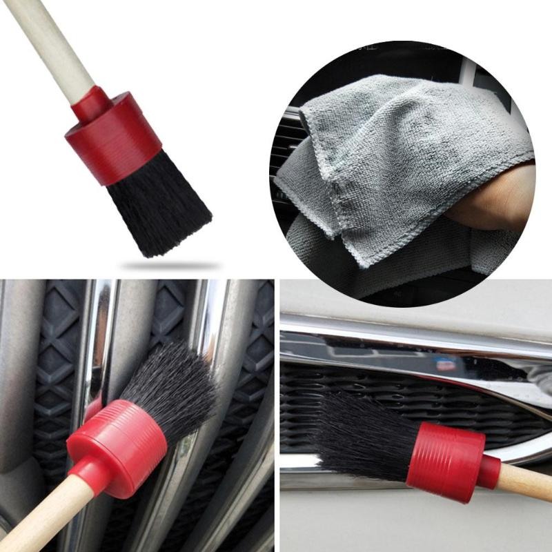 5pcs Car Washer Cleaning Brushes Natural Boar Hair Brush Multi-functional Car Air Vent Detailing Cleaning Brushes+Soft Towel Set