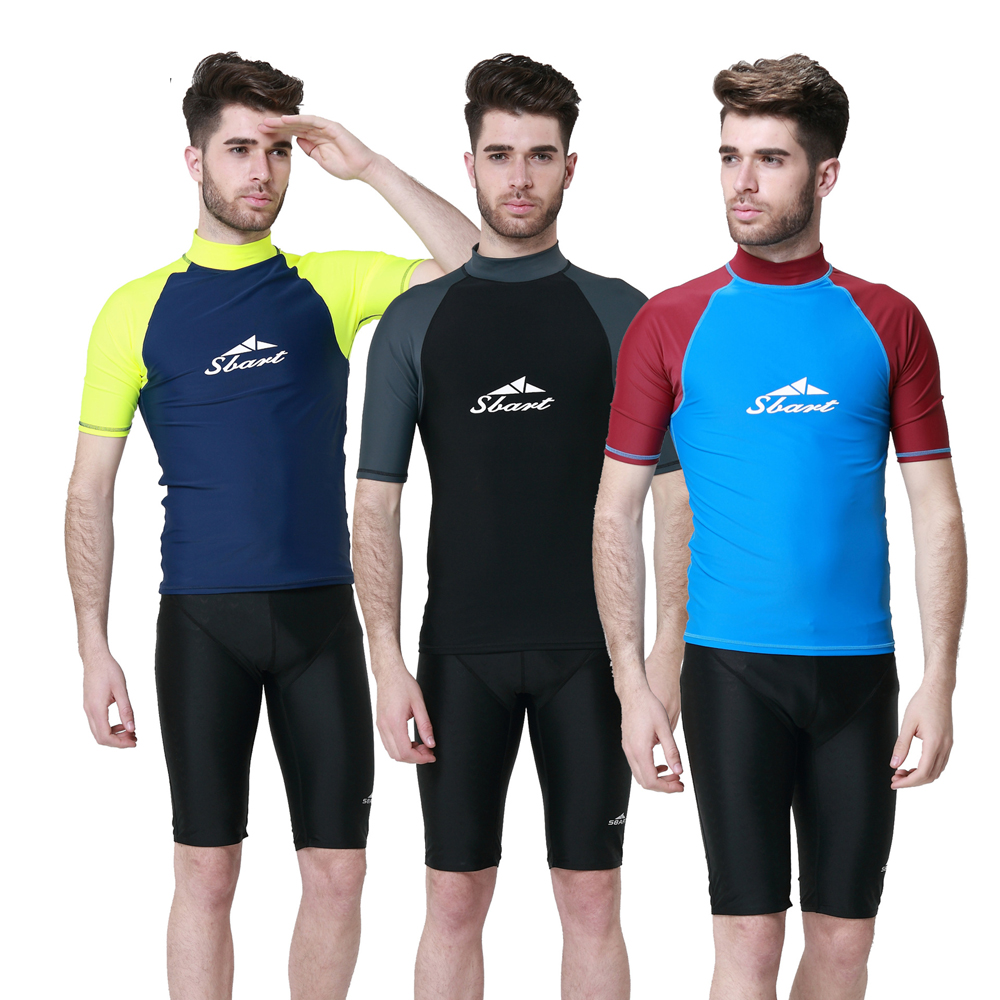 1pc Short Sleeves Men Diving Suits T Shirts Tops Wetsuits Rash Guards Surfing Sailing Snorkelling Equipment Dco