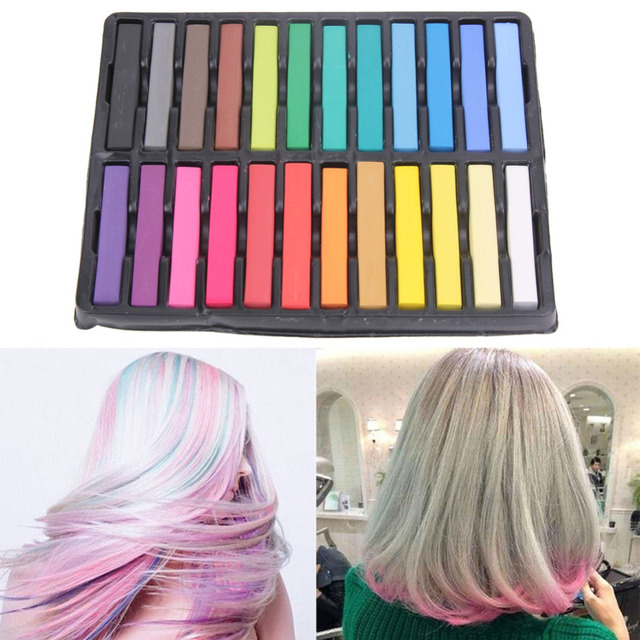24 Colors Hair Dye Colorful Chalk Temporary Hair Color Salon