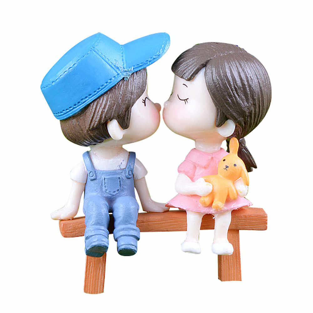 1 Set Cute Lovers Chair Miniature Landscape DIY Ornament Garden Dollhouse Decor Stool couple desktop decoration home decor