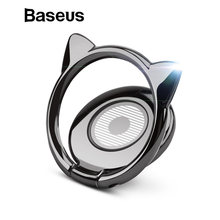 Baseus Metal Finger Ring Holder For iPhone 8 Samsung Xiaomi Cell Mobile Phone Holder Stand Apply to Magnetic Car Phone Holder(China)