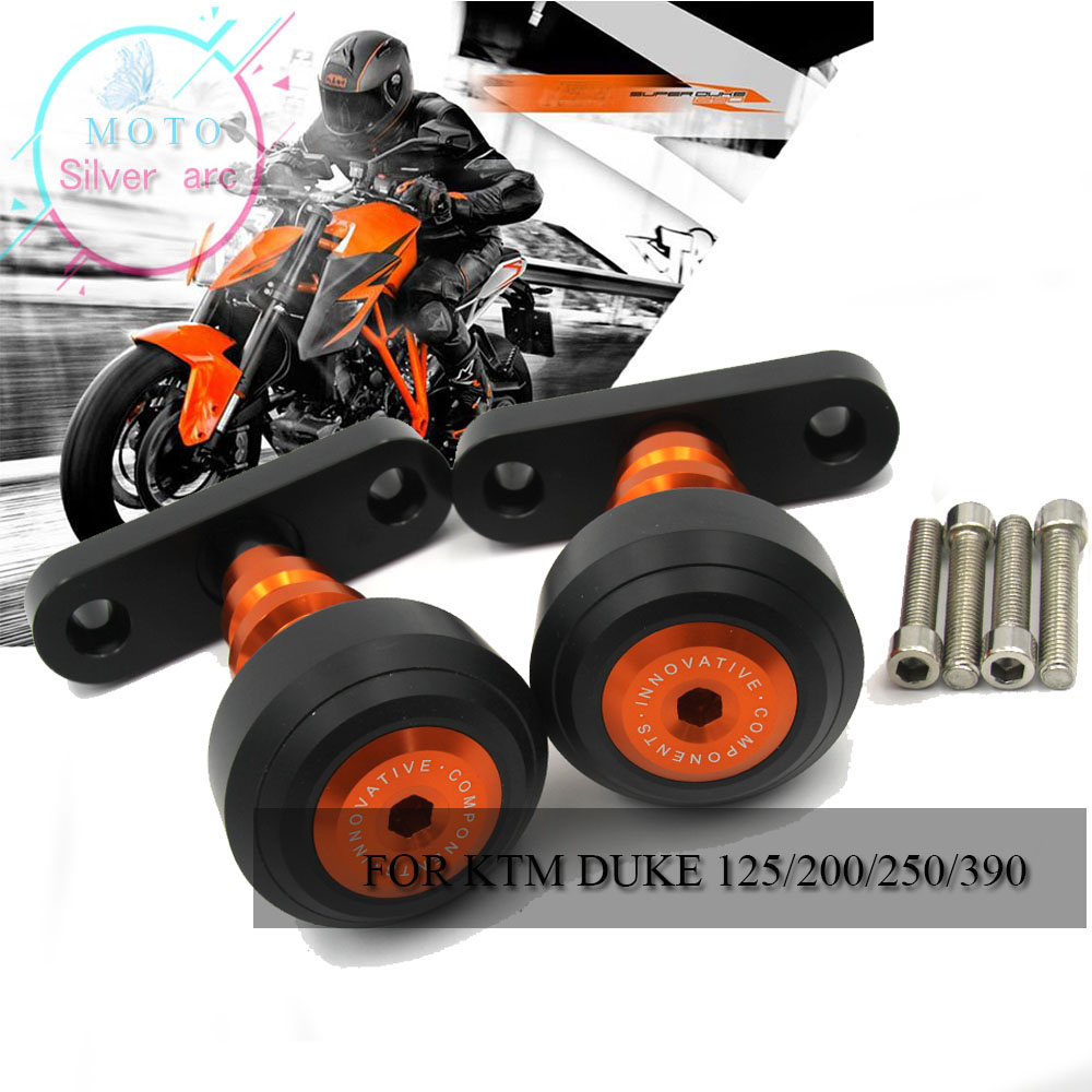 For KTM DUKE 125 200 390 2013-2015 13 14 15 Aluminum Motorcycle Orange Frame Slider Anti Crash Protector&Swingarm Sliders Spools