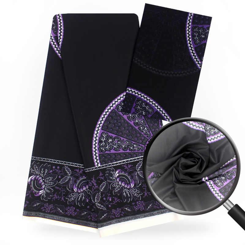 Последние Стрейч атласная шелковая ткань 4 + 2 ярдов/шт цифровой печатный воск дизайн черный стиль нигерийская шелковая ткань для платья f812-6