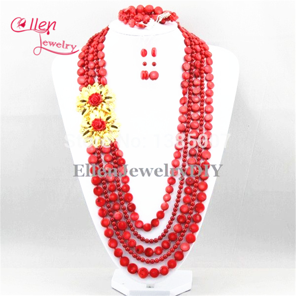New Chic Long Red Coral Jewelry Set Nigerian Coral Necklace Wedding Gift Bridesmaid Necklace Bridal Jewelry Sets chic bells necklace