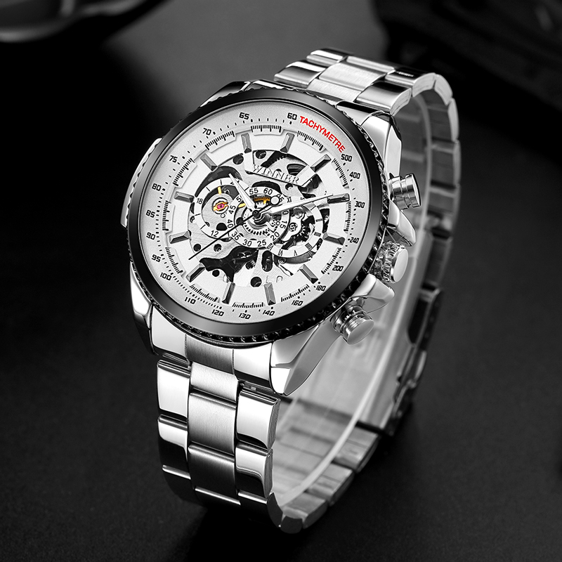T-WINNER Men Self Winding Sport Mechanical Watch Mens Stainless Steel Skeleton Watches Man Luxury Wristwatch Relogio Masculino winner 2016 fashion mens watches for men self winding mechanical leahter watch male wristwatch top brand luxury business watch