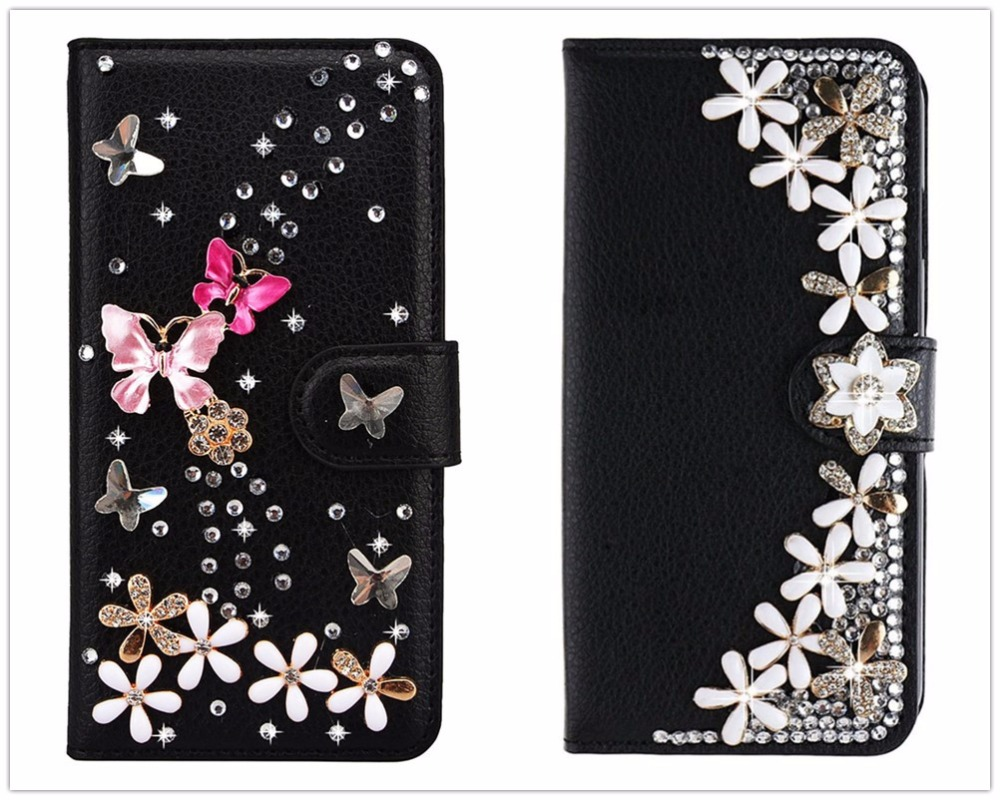 Dower Me Bling Diamond Flower Butterfly Wallet Flip Leather Case For Samsung Galaxy S9/8/7/6 Edge Plus Note 8 5 4 3 S5/4 A5/7/8