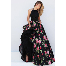 2016 Women Vintage Summer Sexy Backless Halter Sleeveless Floral Print Prom Ball Party Formal Evening Gown Long Dress Vestidos
