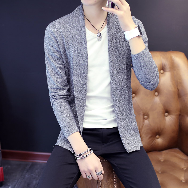 2020 Fall  Men Pure Cardigan Sweater Thin V - Neck Sweater The Tide Of Cultivate One 's Morality Sweater