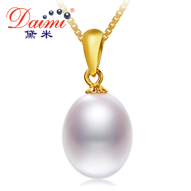 DAIMI 2016 New Genuine Pearl Necklace  Vintage Silver Pendant White Freshwater Pearl Wedding Necklace Pingente de Prata