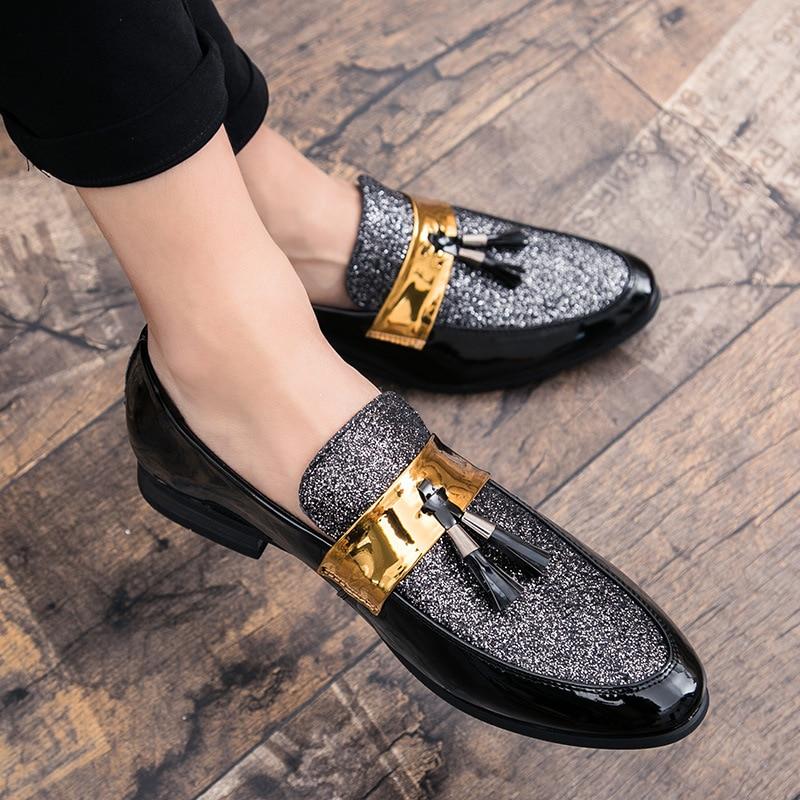 M-Anxiu Men Shoes Formal Casual Golden Flat Black Patchwork PU Man Hot-Sale