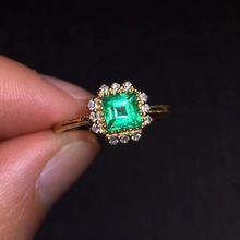 CQT Fine Jewelry G18k Rings Real Diamonds 18K Gold Natural Emerald 0.85ct Gemstones Female Wedding for women Ring