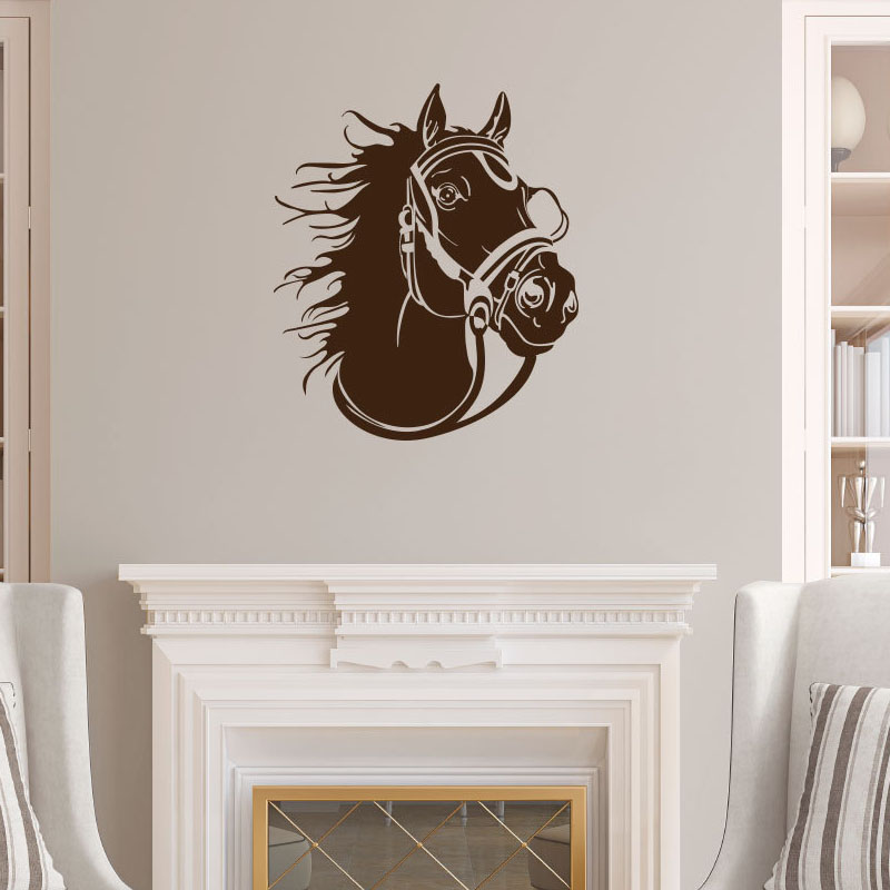 Dctop Racing Horse Head Profile Wall Stickers Animal Home Decor Vinyl Removable Diy Wall Decals Art