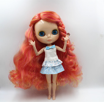 Blygirl Blyth doll Orange red mixed curly hair nude doll 30cm multi-joint body 19 joint DIY doll can change makeup