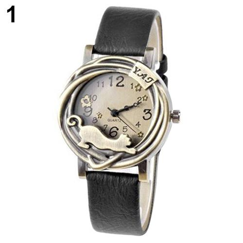 montre femme Women Vintage Jewelry Cat Flower Case Faux Leather Band Quartz Analog Wrist Watch reloj mujer
