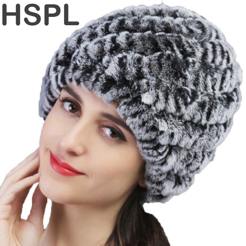 Chapeau de fourrure HSPL garantie 100% naturel véritable Rex fourrure de lapin casquette tricoté chapeaux pour hiver femmes bonnets os chaud ananas casquette