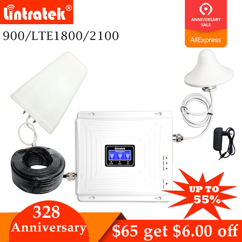 Lintratek Tri banda amplificador 900 de 1800 de 2100 GSM DCS 2G WCDMA 3G 4G LTE amplificador de señal 900 /1800/2100 teléfono móvil repetidor de celular