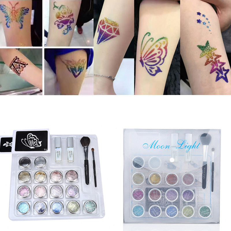 15 colors Professional Temporary Tattoo Body Art Glitter Tattoos kit with brushes glue stencil White Gel Glue tattoo equipment ophir 12 colors powder temporary shimmer glitter tattoo kit for body art design paint with stencil glue