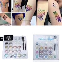 15 colors Professional Temporary Tattoo Body Art Glitter Tattoos kit with brushes glue stencil White Gel Glue tattoo equipment
