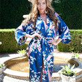 12 Цвета Плюс Размер S-3XL Японские Пижамы Халат Женщины Кимоно Одеяние Атласная Павлин Печати Эмуляции Шелковый Середины икры Половина рукава