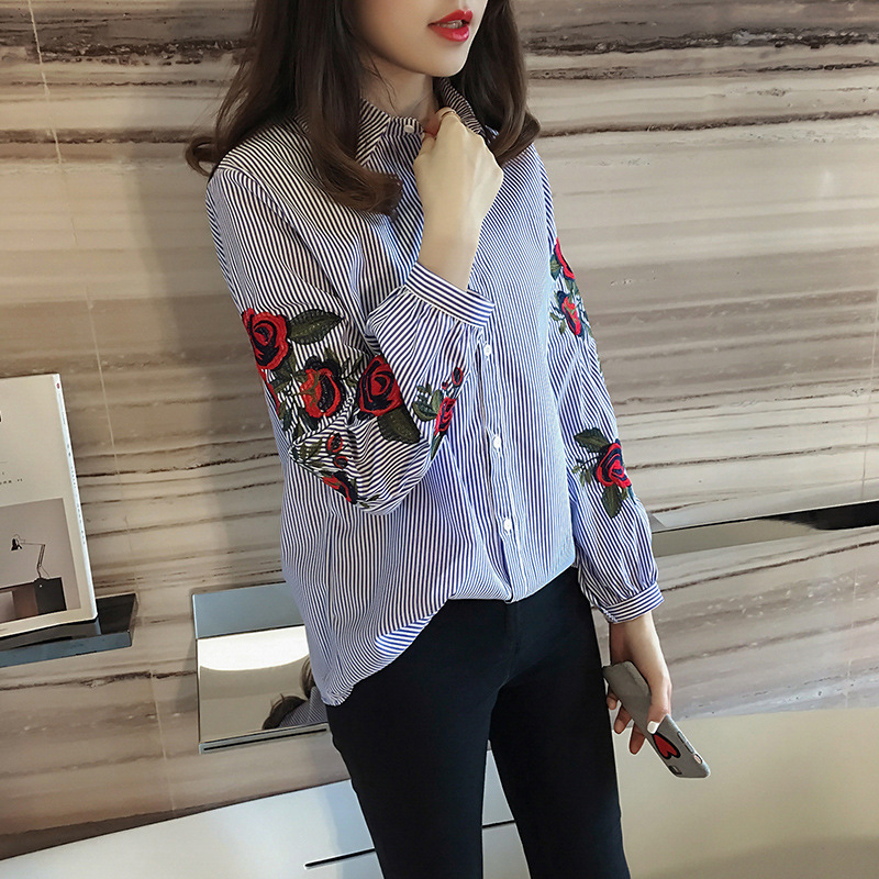 2018 Rose Floral Embroidery Striped Blouse Women Long Sleeve Blouse Shirt Casual Cotton Blusa Plus Size Tops Office Lady Blusas  1