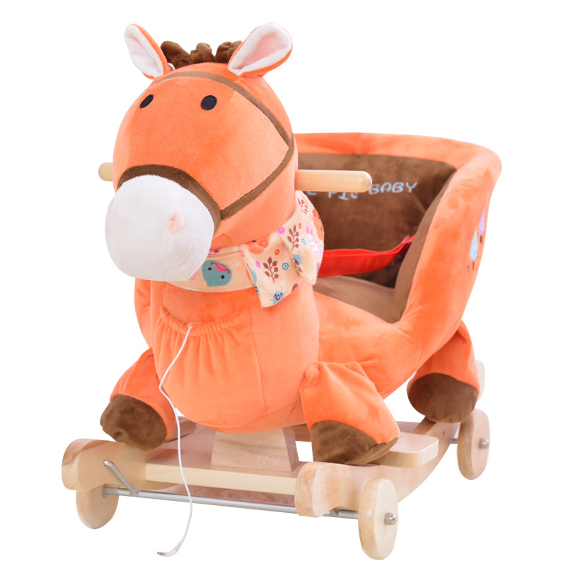 plush animal rocking chairs cheap table and chinese zodiac children chair horse kingtoy baby wood swing seat kids outdoor ride on stroller toy