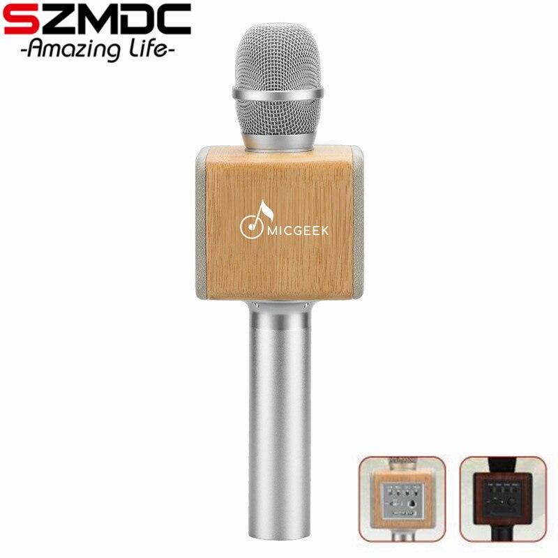 D'origine marque MicGeek ELF 3D Sans Fil Karaoké Microphone 2.1 Piste Sonore Naturel Palissandre DSP Puce Voix Haut-parleurs Smartphone