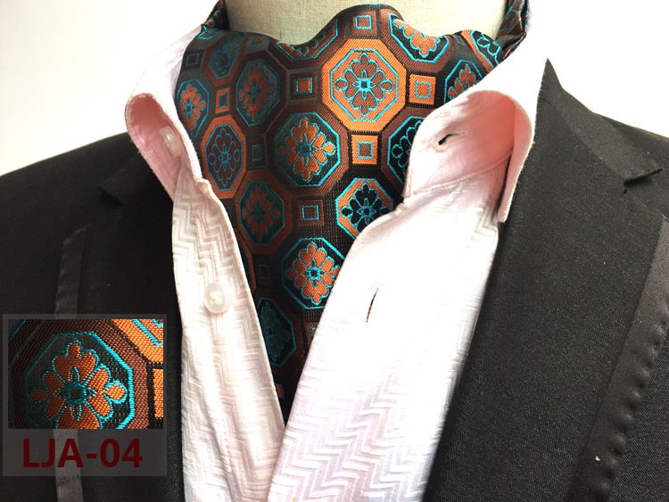 RBOCOTT Mens Ascot Fashion Paisley & Dot Ascot Tie For Men Formal Suit Shirt Luxury Jacquard weave Cravat Tie For Wedding Party