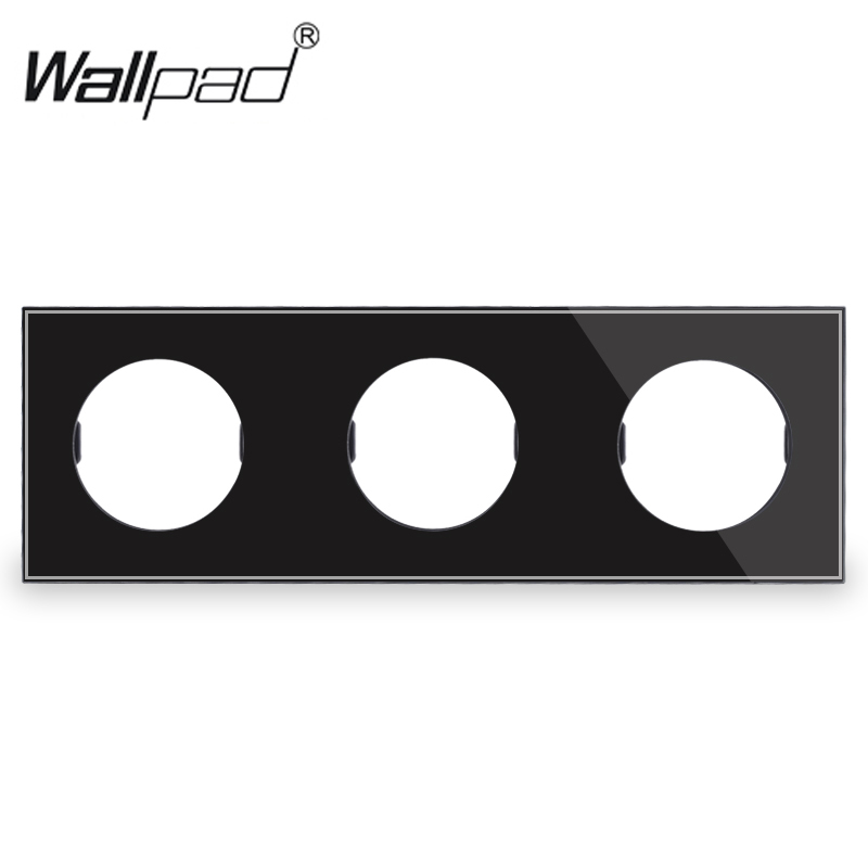 L6 DIY Customization Triple 3 Gang White Black Glass Frame Plate For L6 Wall Light Switch Socket Inserts