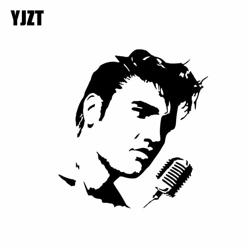 YJZT 14.3CM*15.2CM Elvis Presley Vinyl Decal Car Sticker American Singer Black/Silver C3-0018