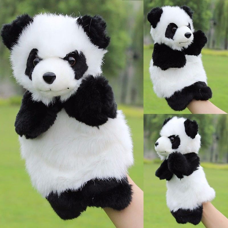 1Pc Panda Hand Puppet Baby Kids Plush Doll Educational Toys Preschool Kindergarten Cute Playthings For Baby Child largest size 95cm panda plush toy cute expression panda doll birthday gift w9698