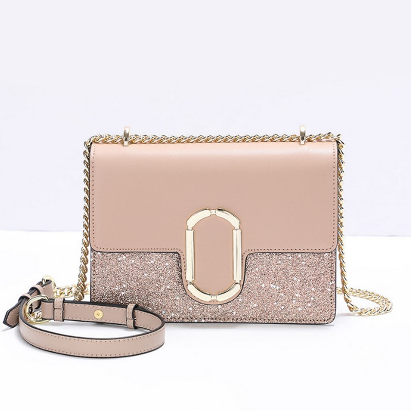 Women Sequined Messenger Bag Quality Split Leather Women's Flap Bag Chain Strap Female Shoulder Bag Lady Crossbody Bags new bag strap chain wallet handle purse acrylic resin strap chain strap replaced bag strap bag spare parts
