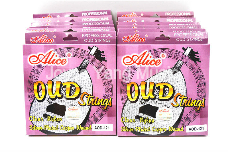 12 Sets of Alice AOD 121 OUD Strings Clear Nylon Silver Plated Copper Wound 12 String
