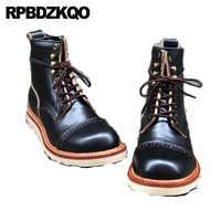 Bottines design rétro Vintage court automne noir fait à la main en cuir véritable hommes Brogue grande taille chaussures pour hommes cheville pleine fleur