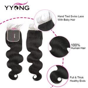 Image 5 - Yyong 4x4 i 5x5 zamknięcie z wiązkami brazylijski ciało fala z zamknięciem 4/5 sztuk dużo Remy wiązki ludzkich włosów z zamknięciem 10 30 cal