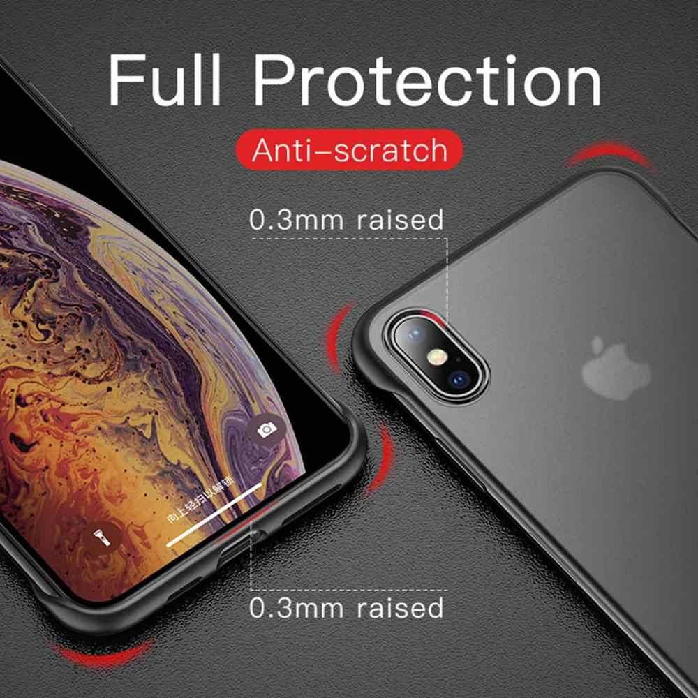 Frameloze Transparante Matte Hard Telefoon Case Voor iPhone X 7 8 6 6 S Plus Cover Voor iPhone XS MAX XR Met Vinger Ring Cover Coque