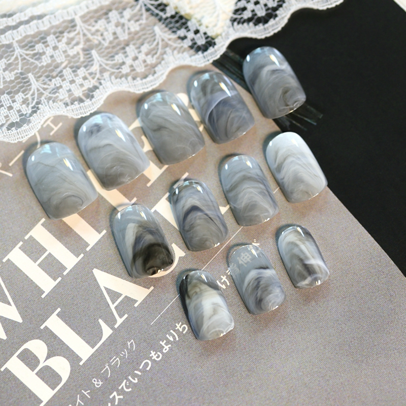 Online Shop 24pcs Gray Agate Stone Marble Style Fake Nails Tips ...