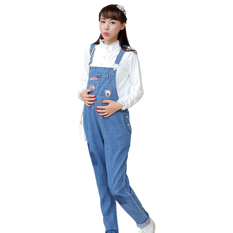 Spring Autumn Maternity Jeans Overalls Jumpsuits Pregnancy Pants Trousers Maternity Denim Bib Jeans Y808 autumn winter women fashion ruffles flared jeans boot cut bell bottom jeans denim female trousers cute flare slim denim pants