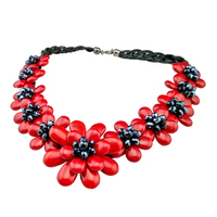 Original handmade European style woman Coral necklace large flower shape summer fashion accessories office lady daily Jewelry