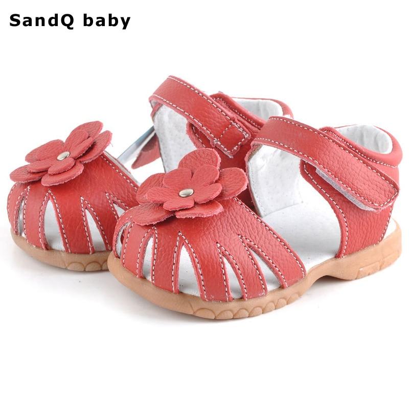 Дитячі сандалі 2019 Нові Літні Натуральна шкіра Дитячі сандалі Квіткові дівчата Сандалії М'яка шкіра Дитяче взуття Baby Toddler Shoes