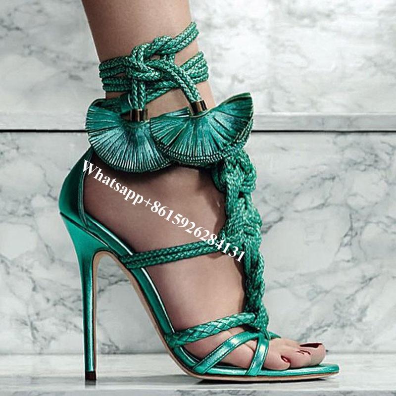Chaussures Shown as Noué Hauts Talons Lanières Shown Tressé Tissé Sexy Sandales Lacets Cordes Franges Escarpins As À Gladiateur Femmes wP0gUq0T