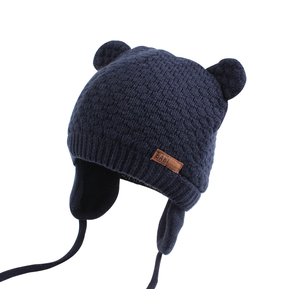 Bear Ears Cute Baby Hat Soft Cotton Newborn Baby Beanie Double Layer Warm Winter Hat For Baby Girls Boys Knitted Kids Hats New (3)