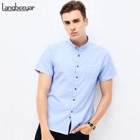 Fashion Brand Clothing Mens Short Sleeve Shirt 2017 Summer New Mandarin Collar Slim Fit Shirt M