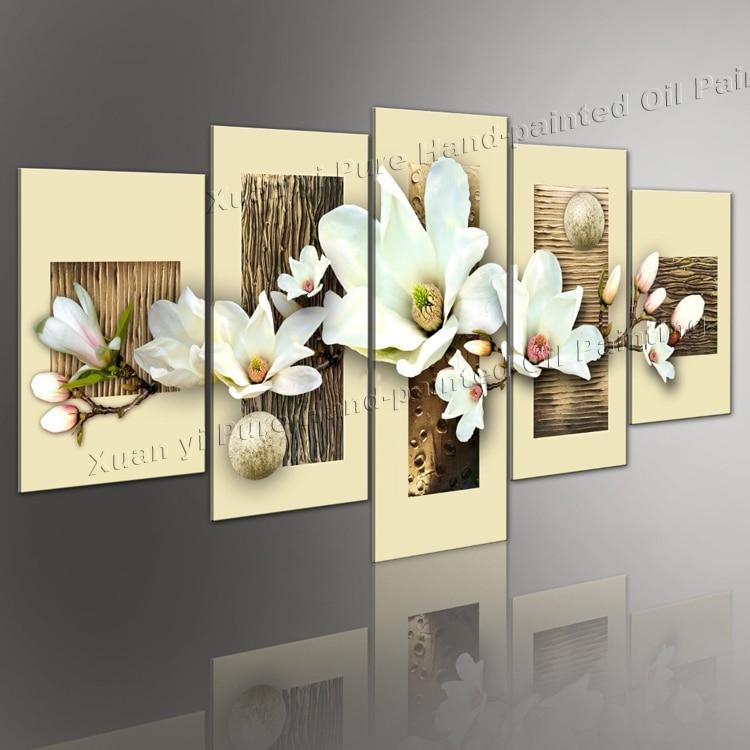 100% ručně malované obrazy bílé květiny Nástěnné umění - Dekorace interiéru