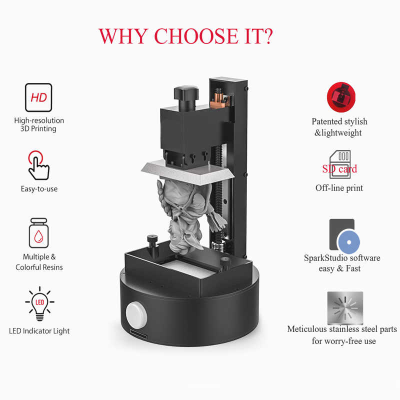 Sparkmaker-1 3d プリンタオリジナル用品ミニデスクトップ Sla/Lcd/dlp 3d Uv 樹脂最優秀 3d プリンタ初心者のための  3d プリンタ