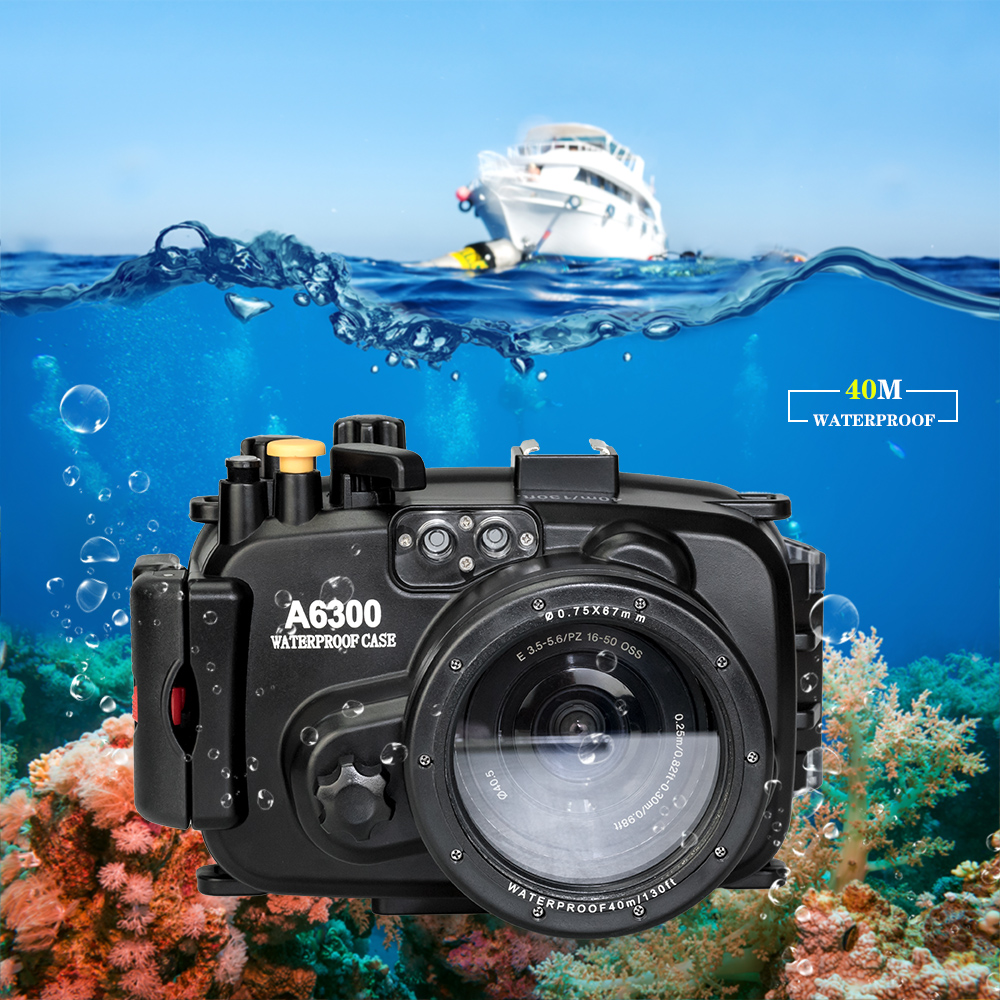 Seafrogs 130ft/40m Waterproof Underwater Housing Camera Diving Case for Sony A6000 A6300 A6500 A6100 A6400 Bag Case Cover