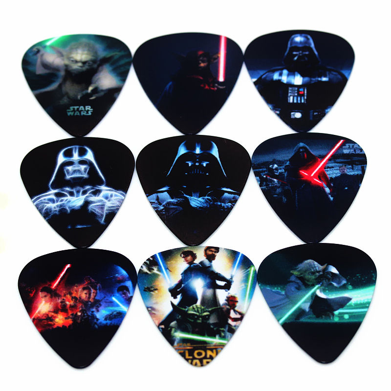 soach 10pcs 0 46mm guitar paddle blue background personality mixed pattern pvc double sided printing instrument accessories SOACH hot PICKS fashion10pcs  guitar Picks Thickness 1.0mm Musical instrument accessories paddle String guitar parts